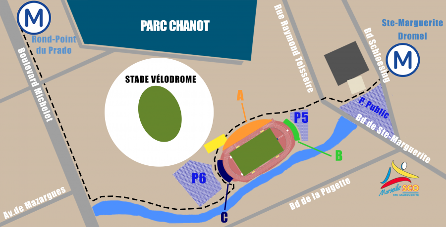 Plan de situation du Stade Delort